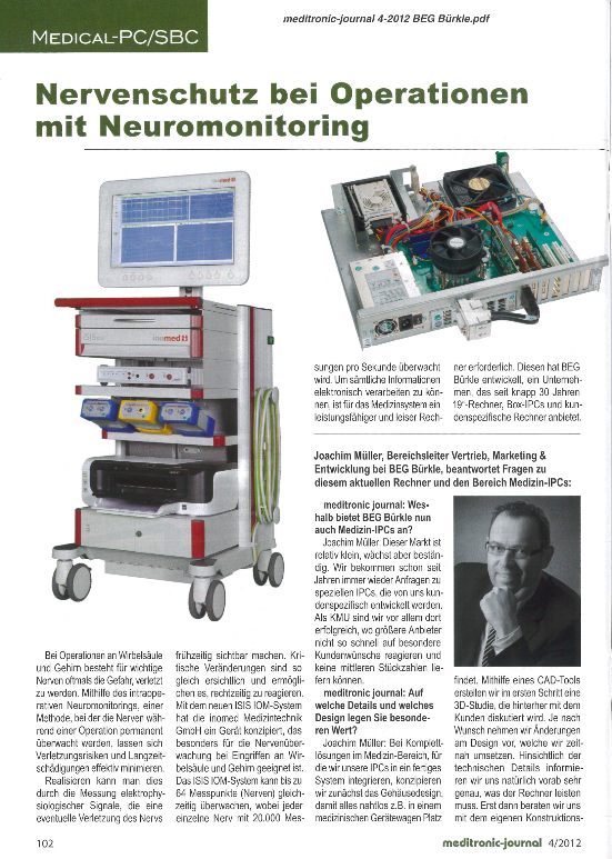 Interview - Nervenschutz bei Operationen mit Neuromonitoring / meditronic-journal / Apr. 2012